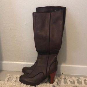 Anthropologie farylrobin Tall brown heel boots 6.5